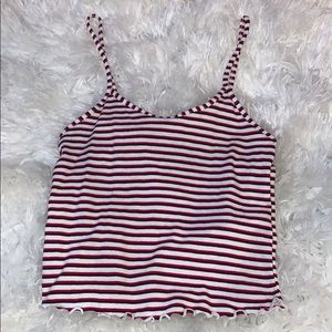 Navy red and white top